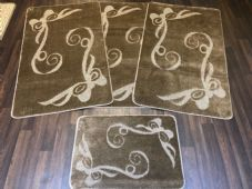 ROMANY GYPSY WASHABLES FULL SET OF MATS/RUGS 75X125CM SIZE NON SLIP DARK BEIGE